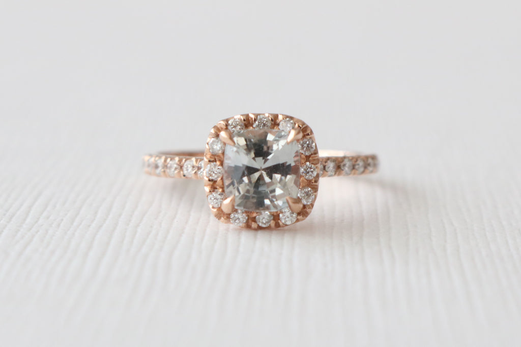 Cushion Cut Dove Gray Sapphire Diamond Halo Engagement Ring in 14K Rose Gold