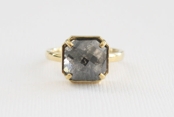 5.38 Cts. Square Rose Cut Solitaire Galaxy Diamond Ring in 18K Yellow Gold