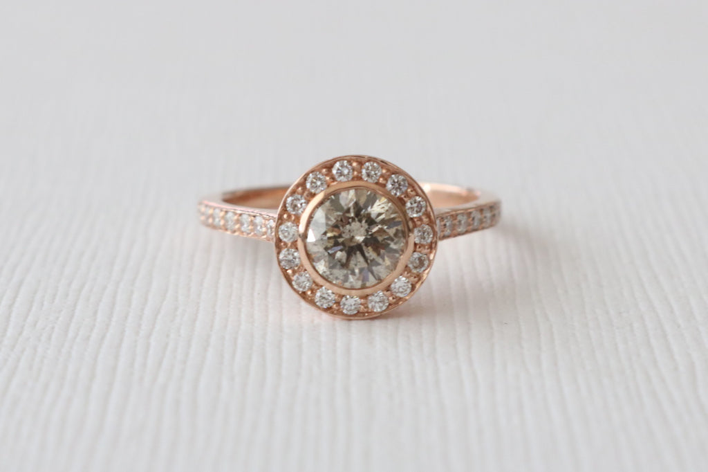 Champagne Diamond Bezel Halo Engagement Ring in 14K Rose Gold