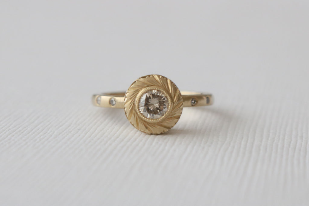 Champagne Diamond Milgrain Hand Engraved Bezel Ring in 14K Matte Yellow Gold