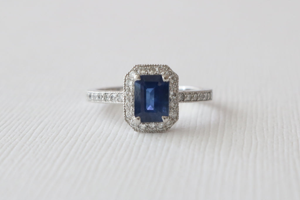 Emerald Cut Sapphire & Diamond Halo Engagement Ring in 14K White Gold