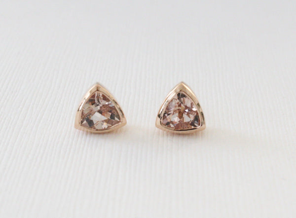 1.70 Cts. Trillion Cut. Peachy Pink Morganite Stud Earrings in 14K Rose Gold