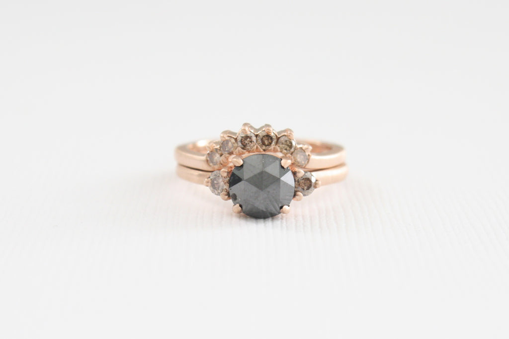 SET - 3 Stone Rose Cut Black Diamond and Champagne Diamond Rings in 14K Rose Gold