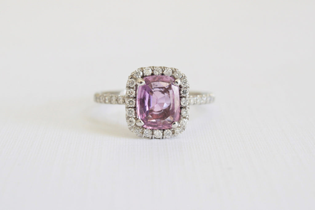 1.60 Cts. Violet Purple Cushion Cut Sapphire Diamond Halo Ring in 14K White Gold