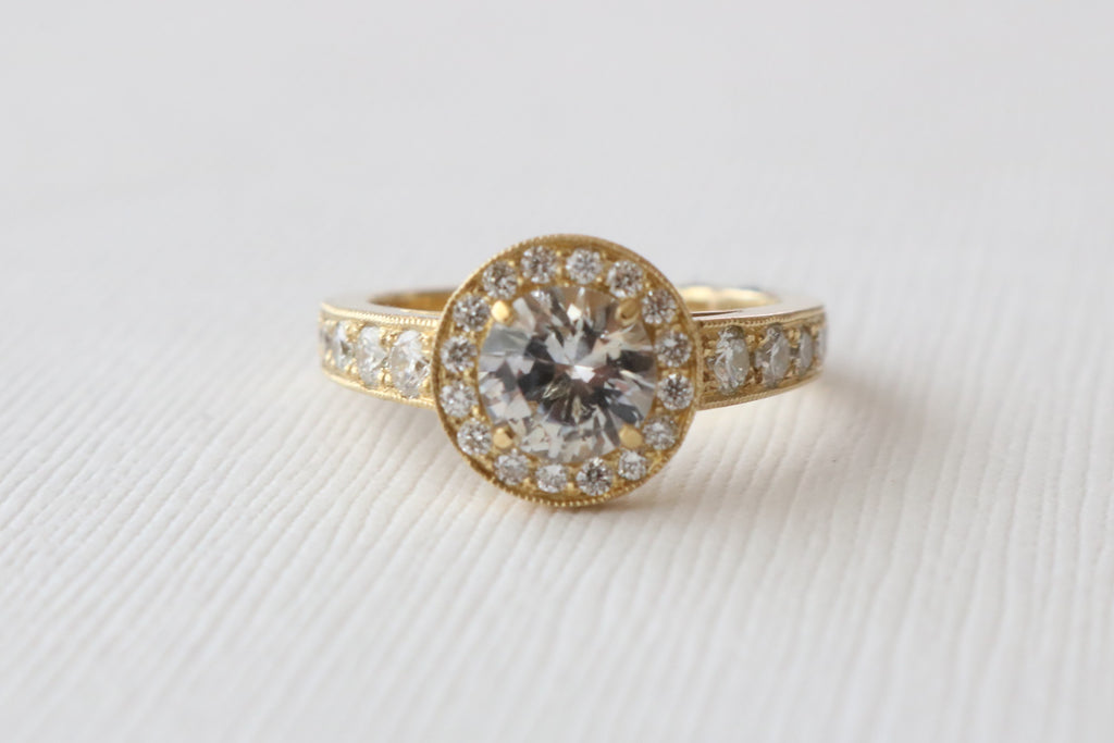 White Sapphire Hand Milgrained Diamond Halo Ring in 18K Yellow Gold