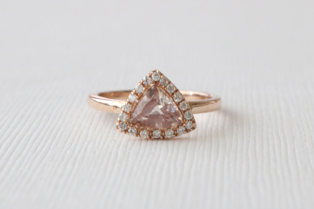 Trillion Cut Peach Pink Sapphire Diamond Halo Ring in 14K Rose Gold