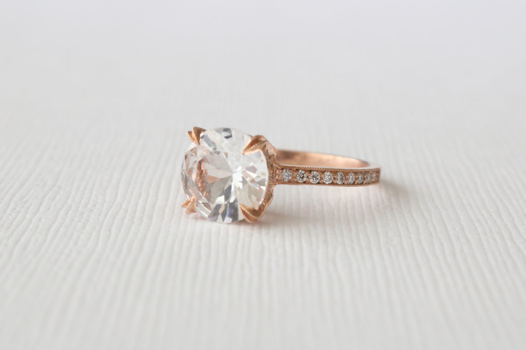 Solitaire White Sapphire and Diamond Milgrained Ring in 14K Rose Gold