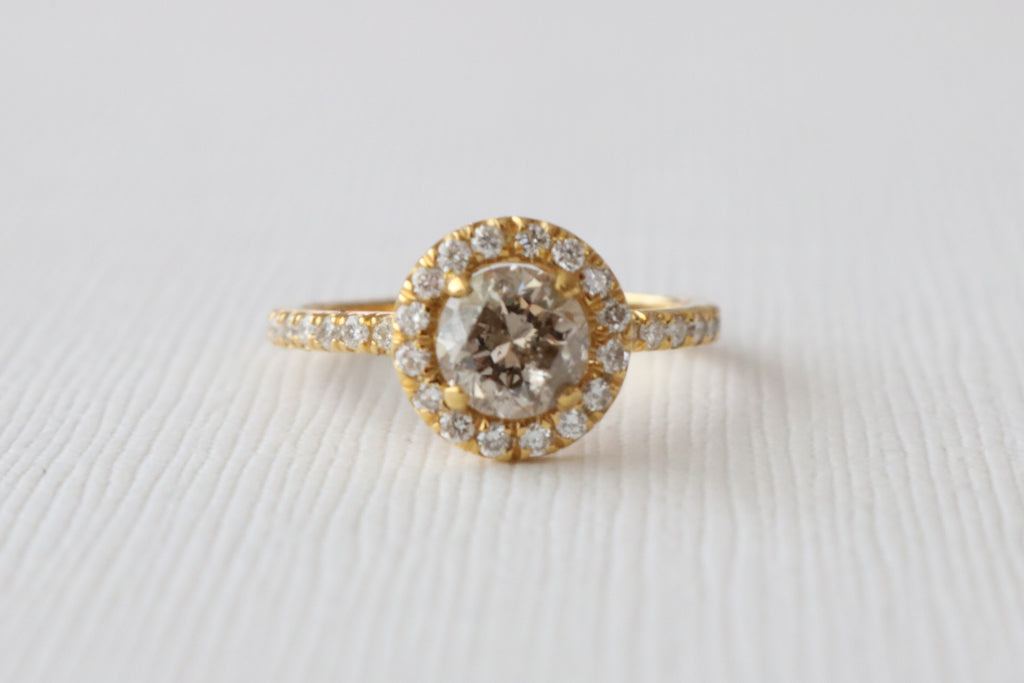 Champagne Diamond Round Halo Engagement Ring in 14K Yellow Gold