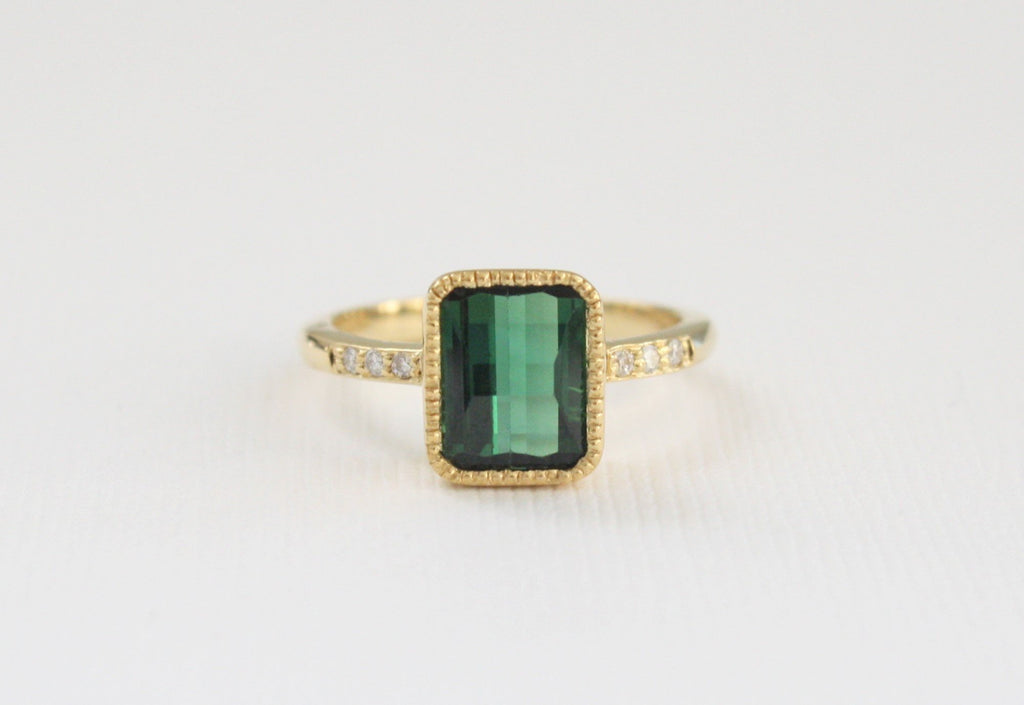 Emerald Cut Green Tourmaline Ring in 18K Yellow Gold