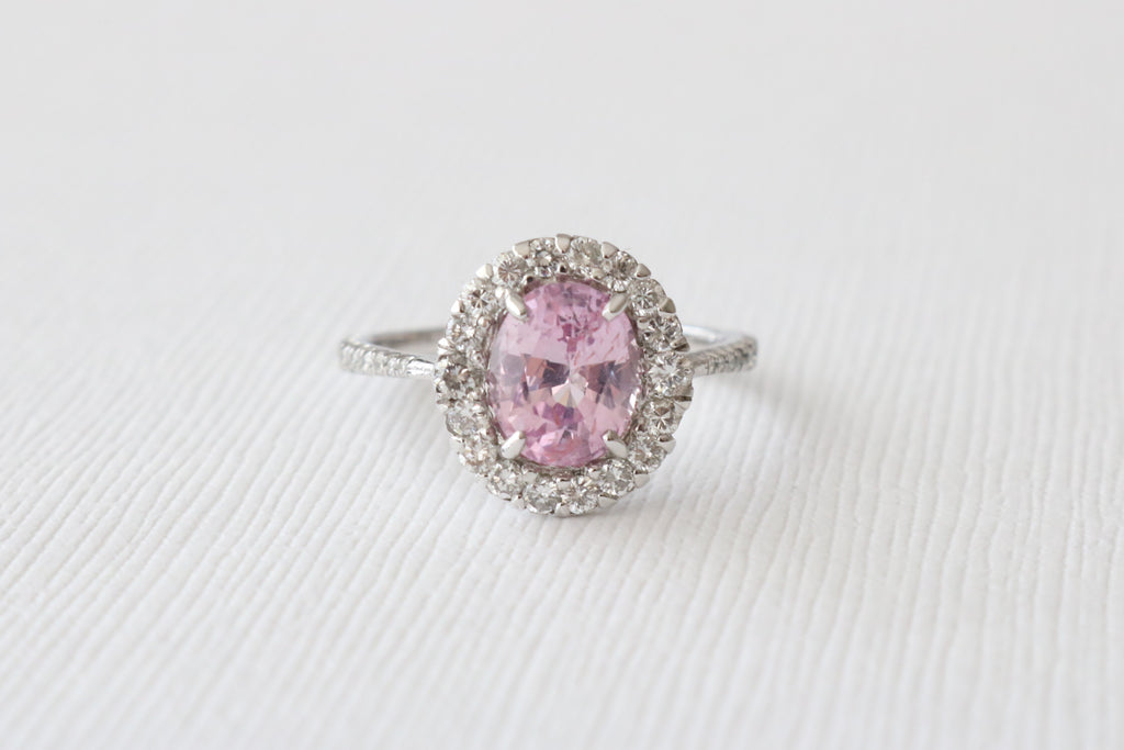 Oval Fancy Pink Sapphire & Diamond Halo Engagement Ring in 14K White Gold
