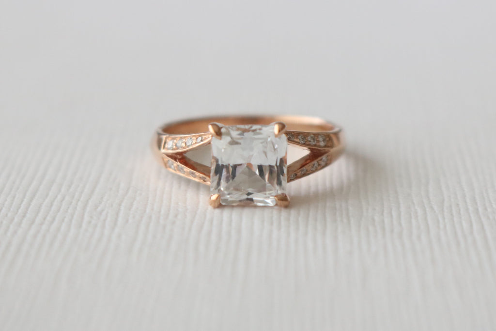 GIA Certified 2.15 Cts. Radiant Cut Light Pink/White Sapphire Split Shank Diamond Ring in 14K Rose Gold