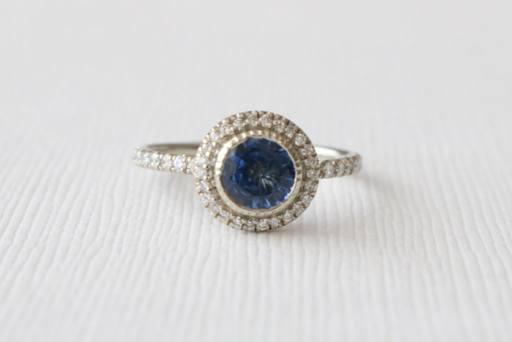 Sapphire & Diamond Halo Engagement Ring in 14K White Gold
