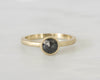 Rose Cut Black Diamond Bezel Ring in 18K Matte Finish Yellow Gold