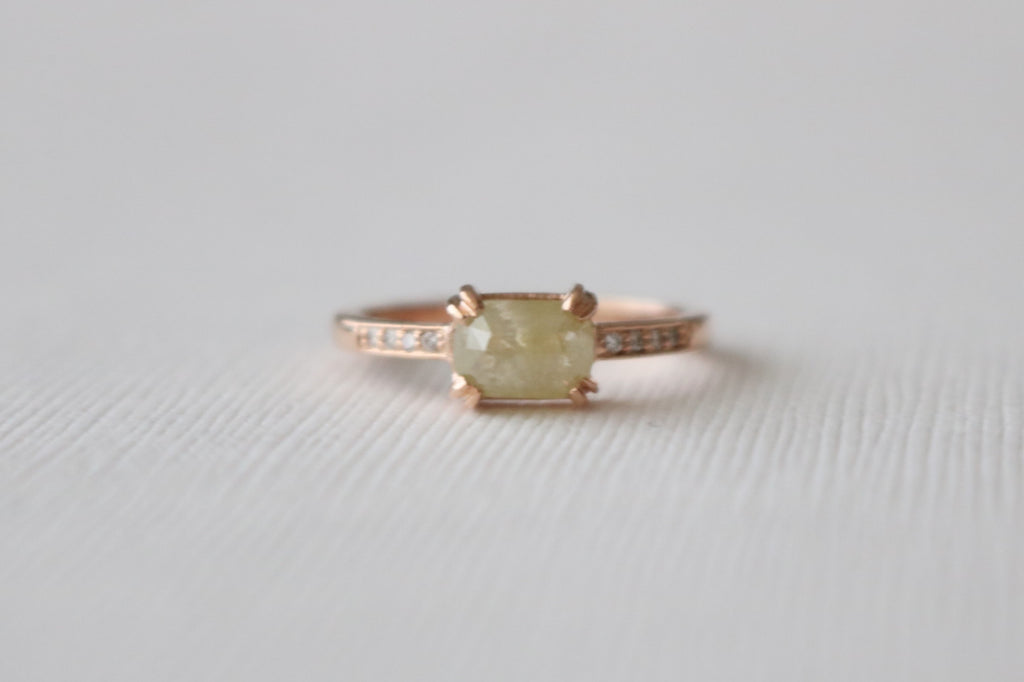 Cushion Rose Cut Light Yellow Diamond Solitaire Ring in 14K Rose Gold