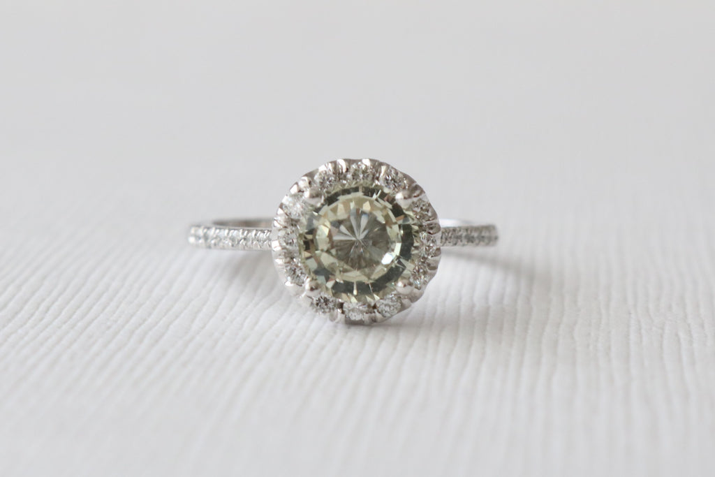 Round Light Yellow Sapphire Halo Diamond Engagement Ring in 14K White Gold