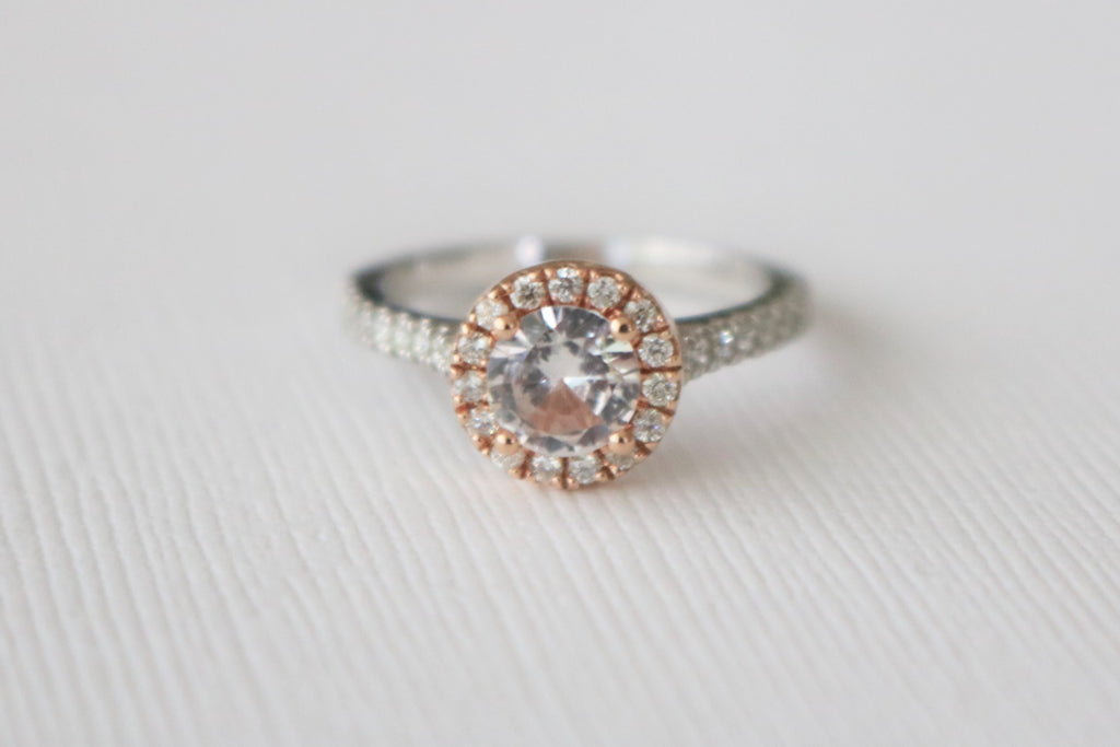 Round White Sapphire Diamond Halo Ring in 14K Rose and White Gold