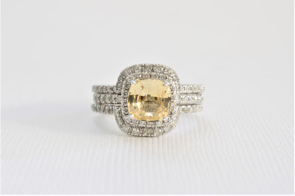 1.77 Cts. GIA Certified Fancy Yellow Cushion Cut Sapphire Diamond Halo 3-Ring Set in 14K White Gold