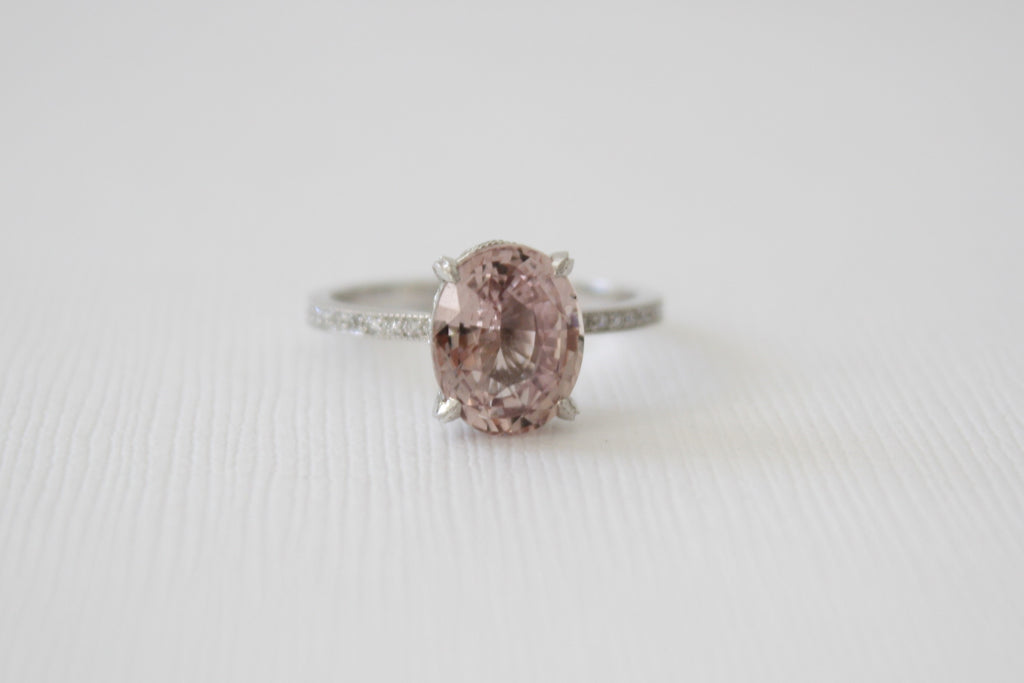 3.60 Cts. Oval Peachy Pink Sapphire Solitaire Diamond Engagement Ring in 14K White Gold