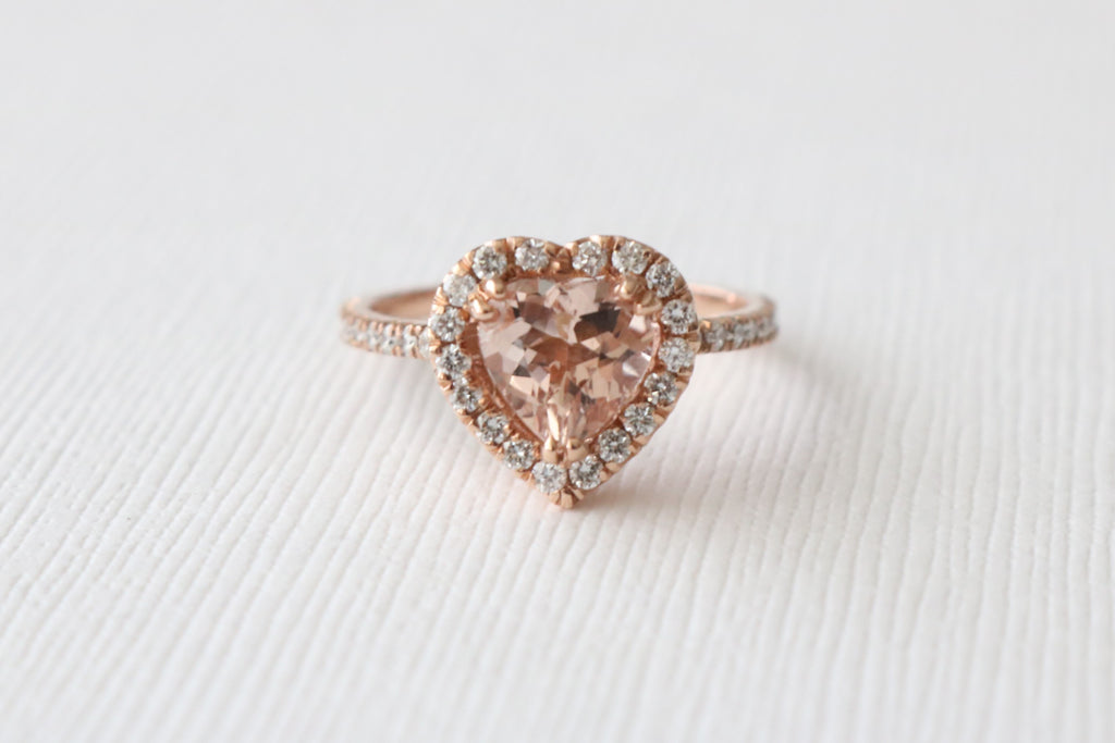 SET - Heart Shaped Morganite Engagement Rings in 14K Rose Gold Halo Diamond Setting