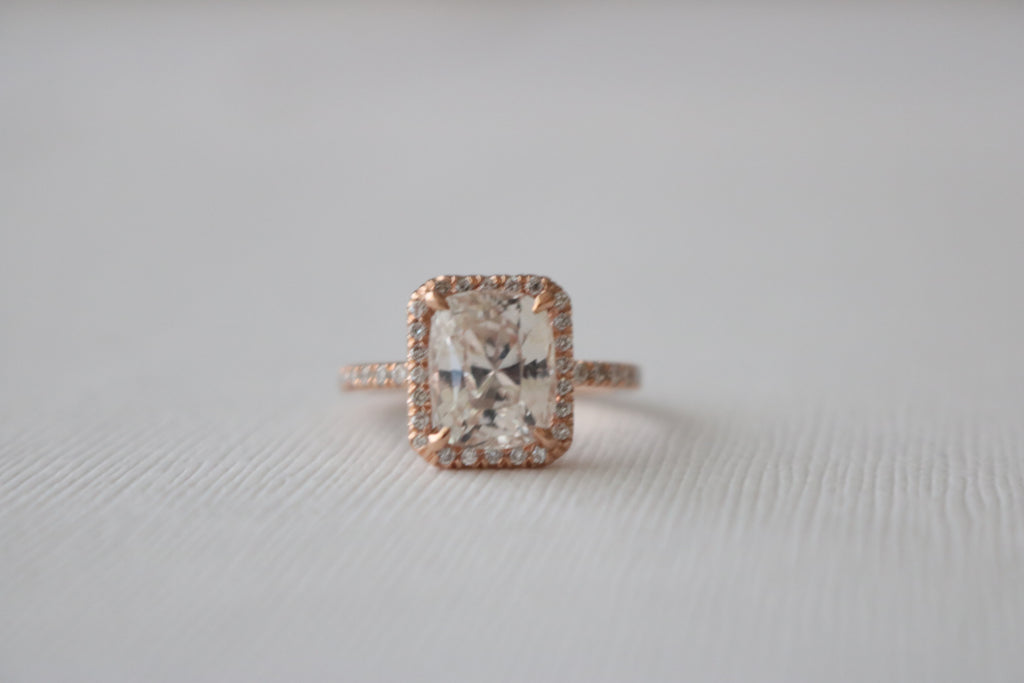 3.90 Cts GIA Certified Cushion Cut Peach Sapphire Diamond Halo Engagement Ring in 14K Rose Gold