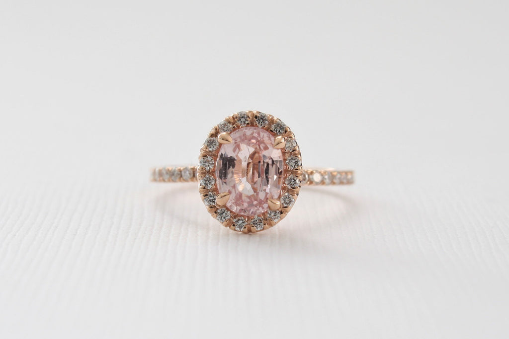 Oval Brilliant Cut Peach Sapphire Diamond Halo Ring in 14K Rose Gold