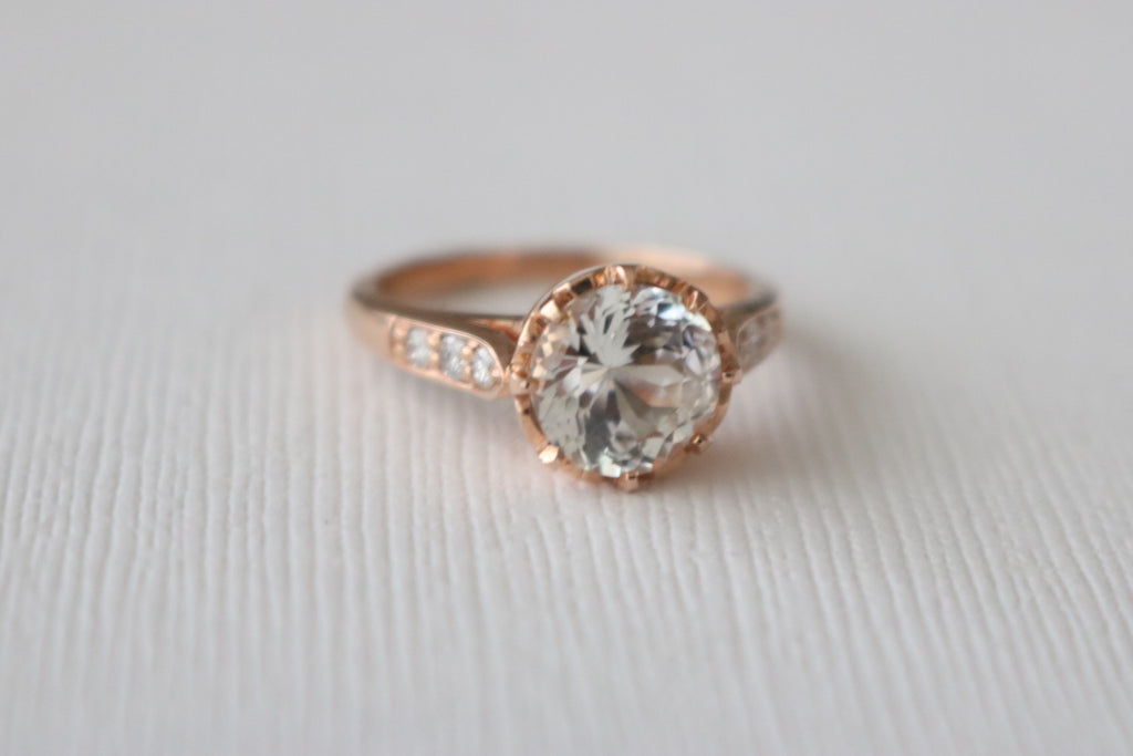 2.50 Cts. Round White Sapphire Solitaire Diamond Engagement Ring in 14K Rose Gold