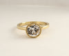 2.53 Cts. White Sapphire Milgrain Bezel Ring in 18K Yellow Gold