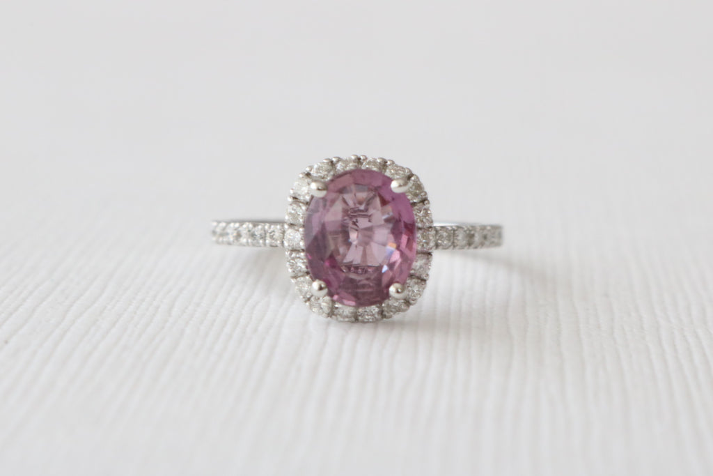1.93 Cts. Violet Purple Oval Sapphire Diamond Halo Ring in 14K White Gold