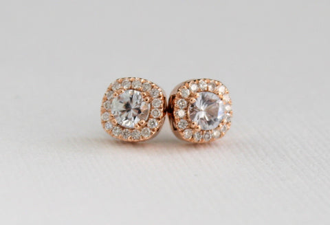 White Sapphire Diamond Halo Stud Earrings in 14K Rose Gold