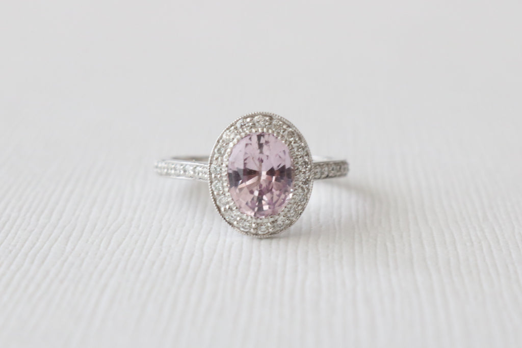 Oval Pink Sapphire Diamond Halo Engagement Ring in 14K White Gold