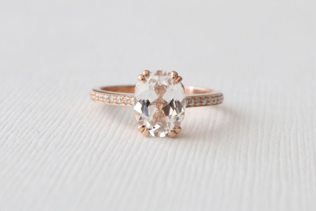 Double Prong Oval White Sapphire Diamond Engagement Ring in 14K Rose Gold