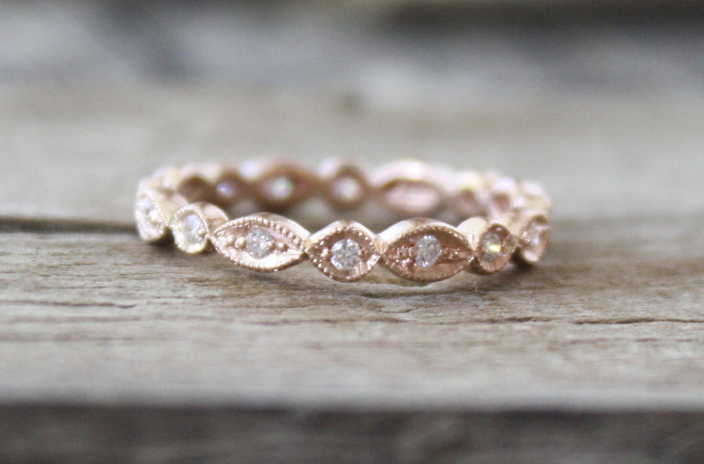 3 mm Hand Milgrained Bead Eternity Diamond Ring in 14K Rose Gold