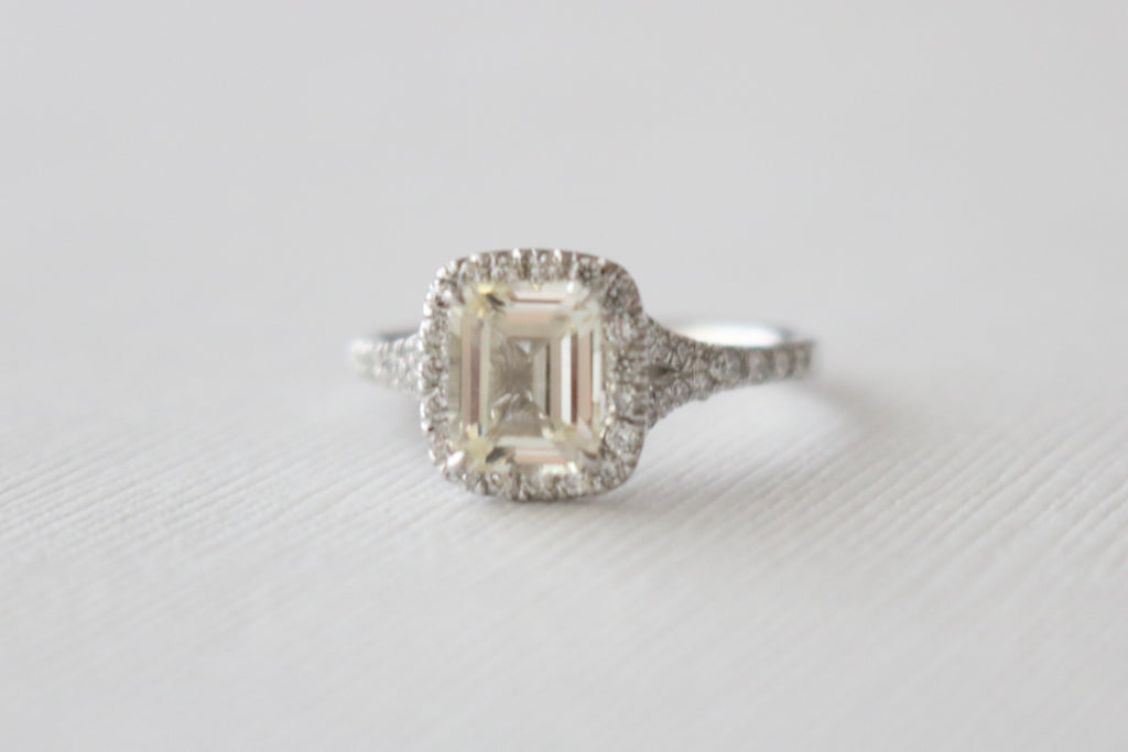 GIA Certified Emerald Cut Light Yellow Sapphire Halo Diamond Split Shank Ring in 14K White Gold