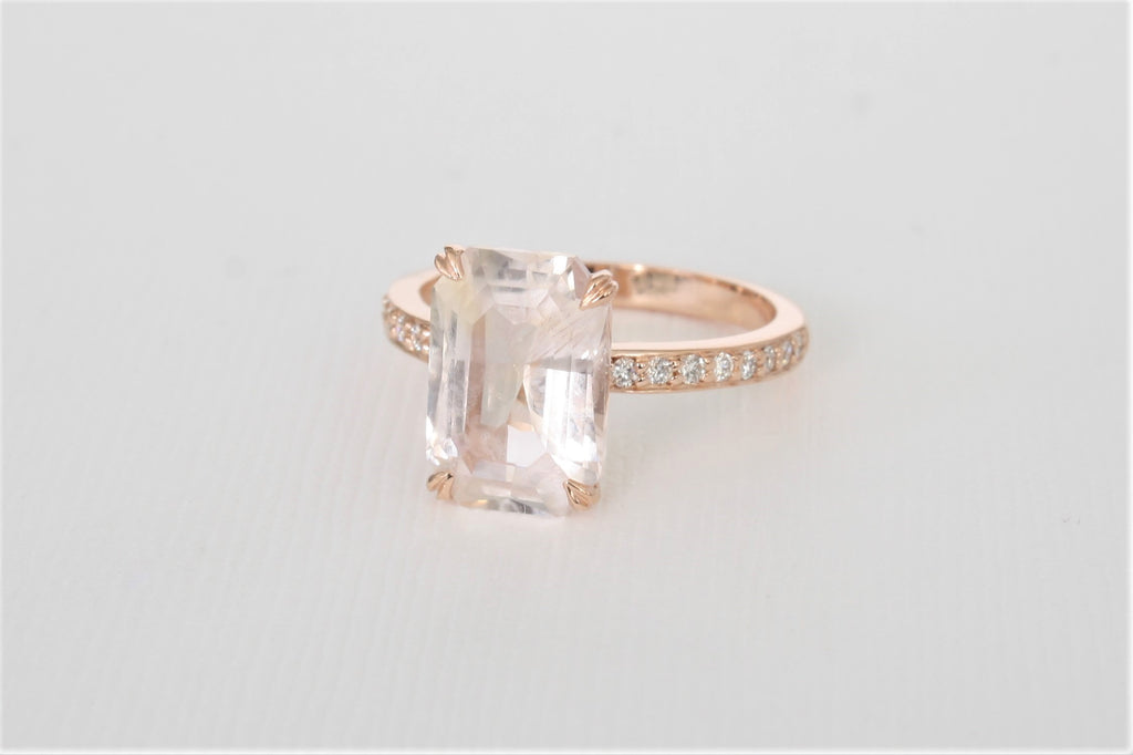 GIA Certified 4.53 Cts. Emerald Peach Sapphire Solitaire Diamond Engagement Ring in 14K Rose Gold