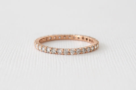 Handmade Full Eternity Diamond Stacking Ring in 14K Gold