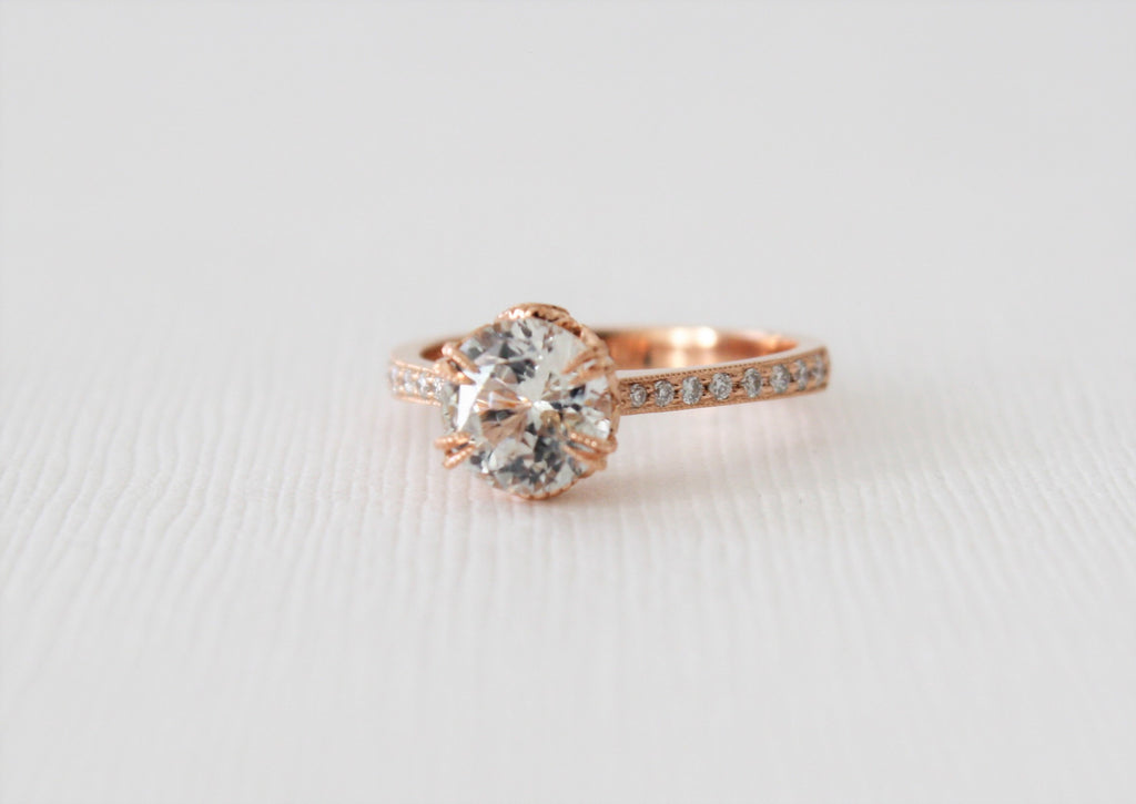 Round White Sapphire Milgrained Engagement Diamond Ring in 14K Rose Gold