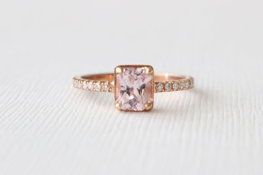 GIA Certified Radiant Cut Peachy Pink Sapphire Diamond Engagement Ring in 14K Rose Gold