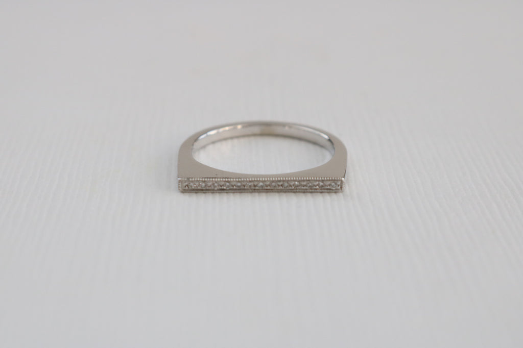 Tri-Color Bar Milgrained Diamond Ring in 14K Gold