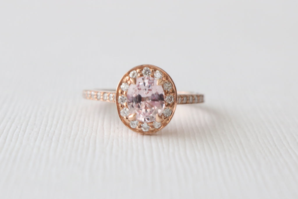 Oval Peach Champagne Sapphire & Diamond Halo Engagement Ring in 14K Rose Gold