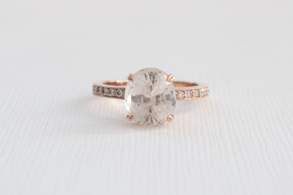 GIA Certified 3.99 Cts. Oval Faint Peach Solitaire Sapphire Diamond Ring in 14K Rose Gold