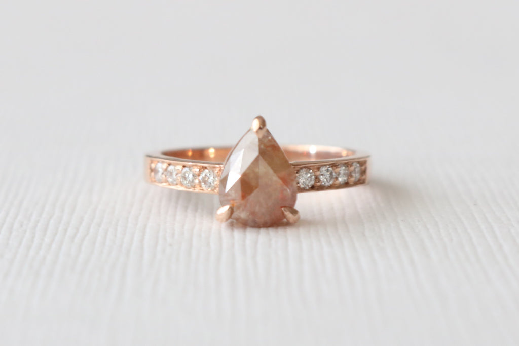 Pear Rose Cut Gray Diamond Solitaire Ring in 14K Rose Gold