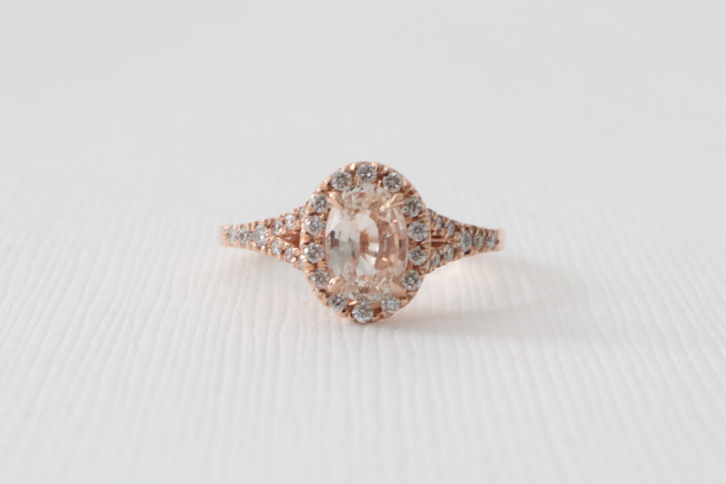 Oval Peach Sapphire Split Shank Diamond Halo Engagement Ring in 14K Rose Gold