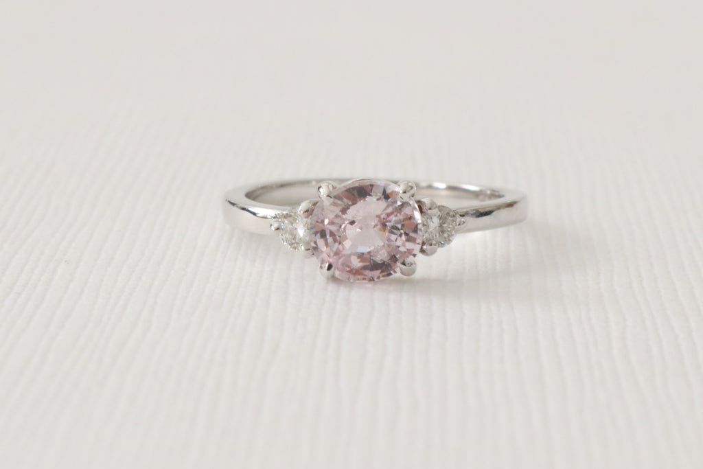 3 Stone Light Pink Sapphire and Diamond Engagement Ring in 18K White Gold