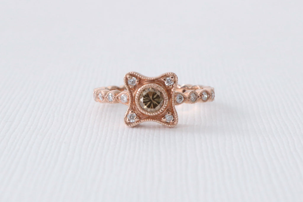 Cushion Milgrain Paisley Champagne Diamond Ring in 14K Rose Gold