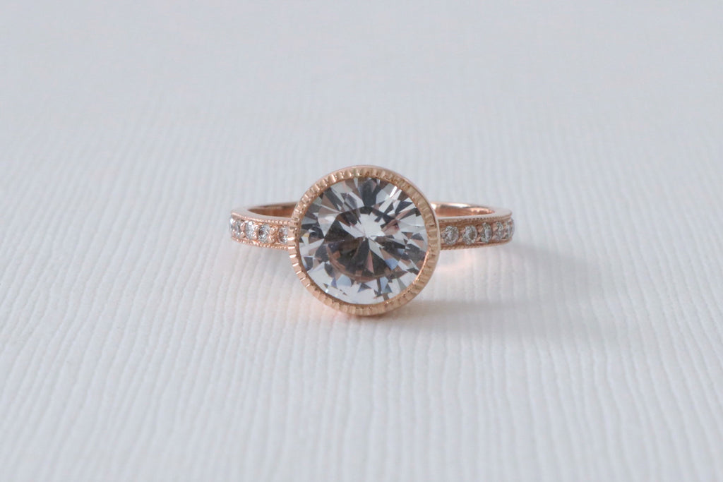 3.23 Cts. White Sapphire Milgrain Bezel Diamond Ring in 14K Rose Gold