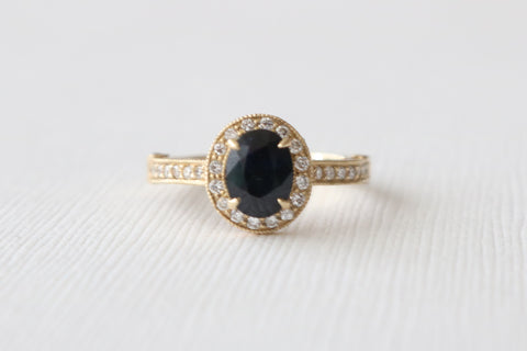 1.53 Cts. Oval Sapphire Hand Milgrained Diamond Halo Ring in Filigreed 14K Yellow Gold
