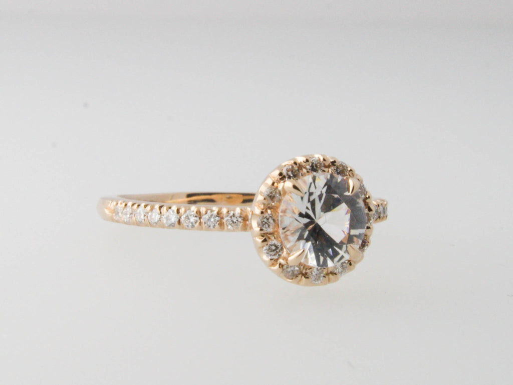 White Sapphire Diamond Halo Engagement Ring in 14K Rose Gold Halo Setting