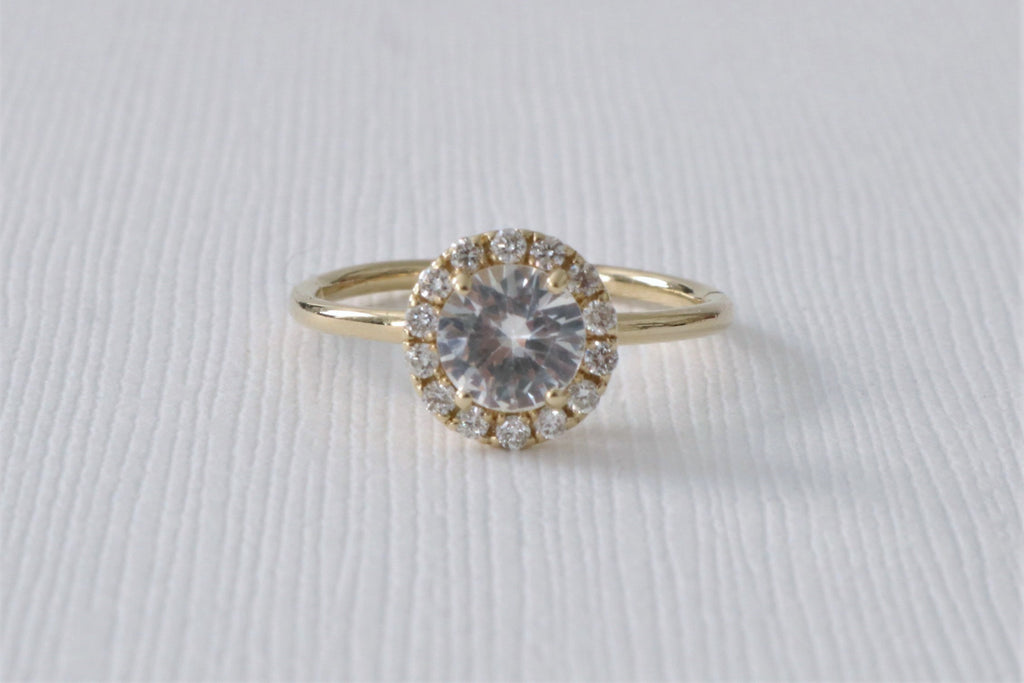 White Sapphire Halo Diamond Engagement Ring in 14K Yellow Gold