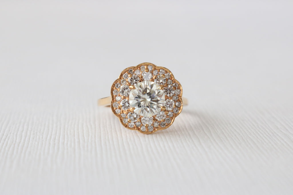 Handmade Forever Brilliant Moissanite Double Halo Diamond Ring in 14K Rose Gold