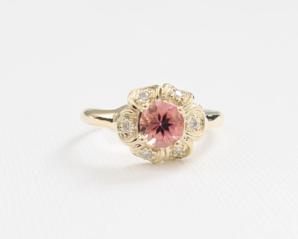 Pink Tourmaline Diamond Anniversary Ring in 14K Rose Gold